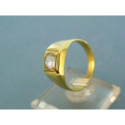 Zlatý pánsky prsteň so zirkónom žlté zlato VP62507Z