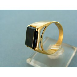 Pánsky prsteň kameň onyx žlté zlato