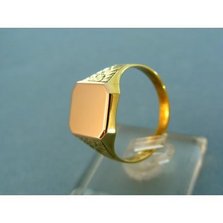 Pánsky pečatný prsteň platnička červené zlato