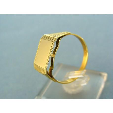 Pánsky prsteň žlté zlato platnička vzorovamý