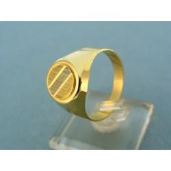 Zlatý pánsky prsteň dvojfarebné zlato okrúhly tvar VP66663V