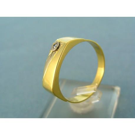 Pánsky prsteň dvojfarebné zlato podlhovastý tvar