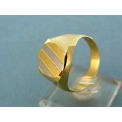 Zlatý pánsky prsteň žlté a biele zlato pásiky