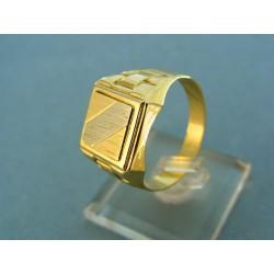 Zlatý pánsky prsteň žlté zlato v strede biely prúžok