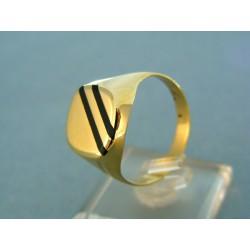 Zlatý pánsky prsteň žlté zlato dva čierne prúžky VP69265ZP