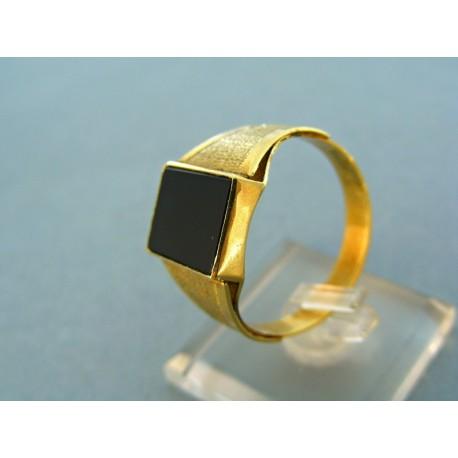 Zlatý pánsky prsteň žlté zlato kameň hranatý onyx