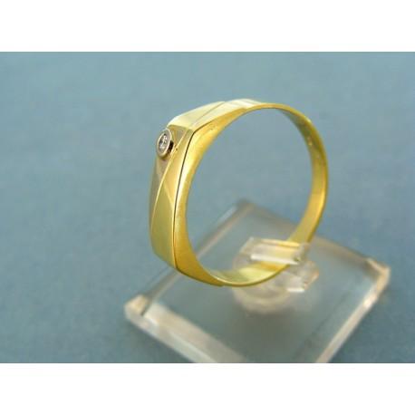 Pánsky prsteň dvojfarebné zlato so zirkónikom