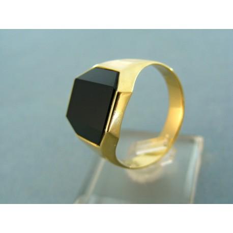 Zlatý pánky prsteň s veľkým kameňom onyx žlté zlato