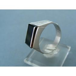 Zlatý pánsky prsteň biele zlato kameň onyx vzorovaný VP64604BP