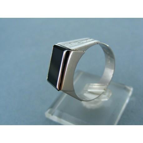 Zlatý pánsky prsteň biele zlato kameň onyx vzorovaný