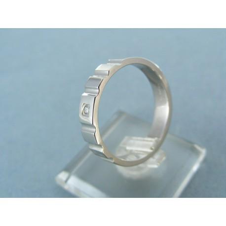 Pánsky prsteň biele zlato jednoduchý tvar s kamienkom