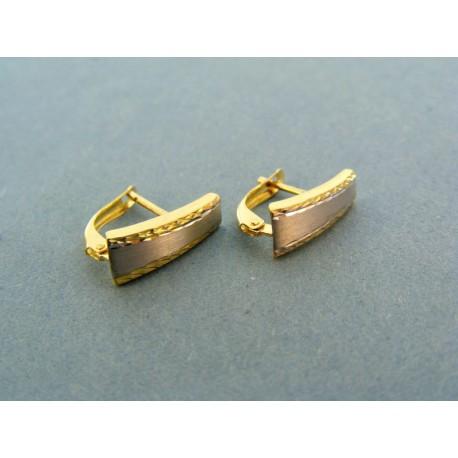 Náušnice dvojfarebné zlato v strede biele zlato