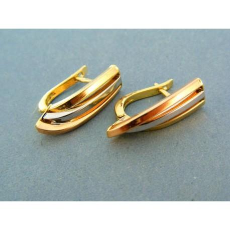 Elegantné zlaté náušnice z trojfarebného zlata