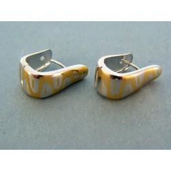 Zlaté náušnice moderné biele zlato so vzorom zo žltého zlata DA304V