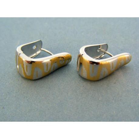Moderné zlaté náušnice biele zlato so vzorom zo žltého zlata