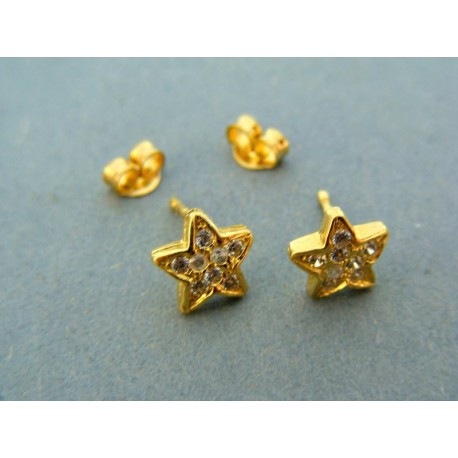 Zlaté náušnice hviezdičky s kamienkom žlté zlato
