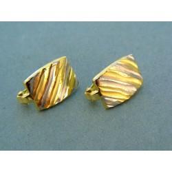 Zaujímave náušnice pruhy žlté a biele zlato