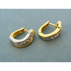 Zlaté damske náušnice dvojfarebné zlato zirkóniky DA333V