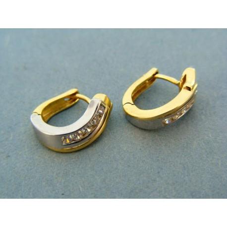 Damské náušnice dvojfarebné zlato zirkóniky