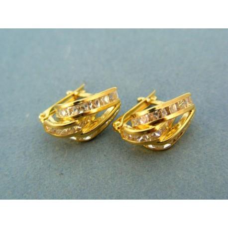 Zlate náušnice žlté zlato kamienky zirkón