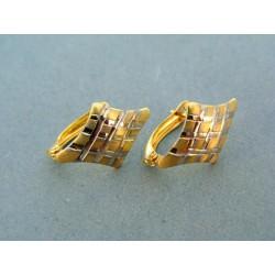 Zlaté náušnice pre dámu tvar kosoštvorca dvojfarebne zlato DA169V