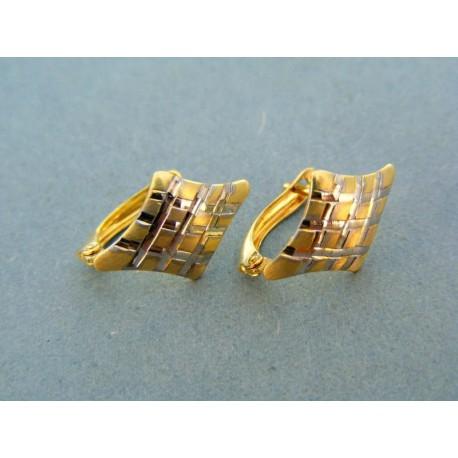 Náušnice pre dámi tvar kosoštvorca dvojfarebne zlato