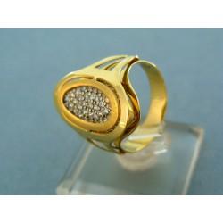 Moderný prsteň s kamienkami žlté zlato
