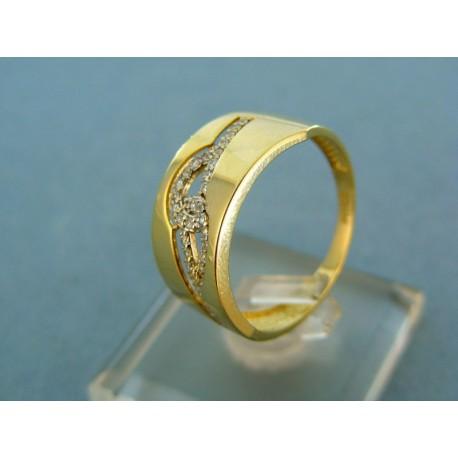 Moderný prsteň žlté zlato vzor s kamienkami