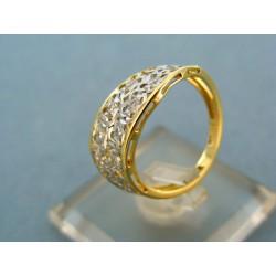 Zlatý prsteň moderne ladený kombinácia biele a žlté zlato VP53279V