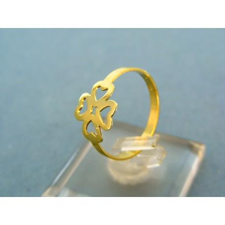 Jemný prsteň  žlté zlato tvar štvorlístok