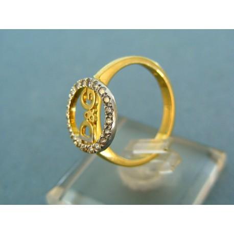 Široký prsteň s kamienkami D&G  biele a žlté zlato