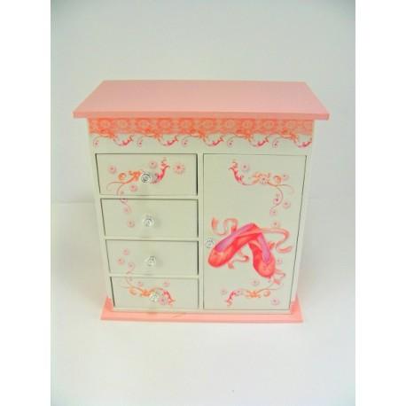 Dievčenská šperkovnica bielo-ružová hracia