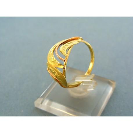 Zlatý prsteň dvoj-farebné zlato vzory