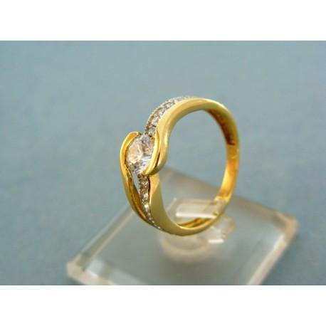 Dámsky prsteň s kamienkami central žlté zlato