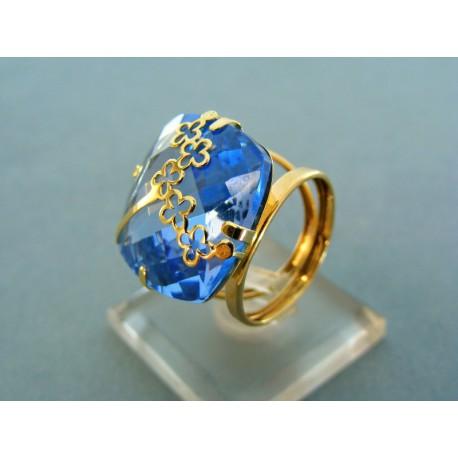 Elegantný prsteň s veľkým modrým zirkónom žlté zlato
