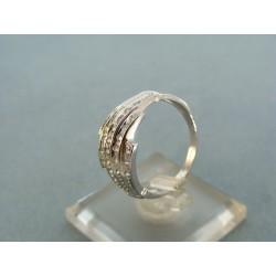 Prsteň biele zlato s kamienkami zirkónu