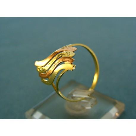 Jemný dámsky prsteň zlato žlto-červené