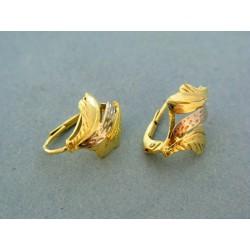 Zlaté náušnice žlto-červené zlato tvar lístky VA275V