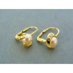 Elegantné náušnice s perlou žlté zlato a zirkóny