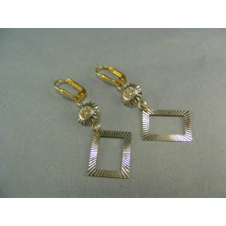 Zlaté náušnice visiace viacfarebné zlato tvar kosoštvorca so slniečkom DA250V