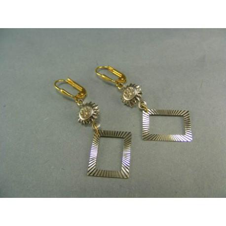 Visiace náušnice viacfarebné zlato