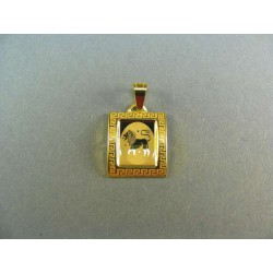 Zlatý prívesok znamenie žlté zlato v platničke DI095Z