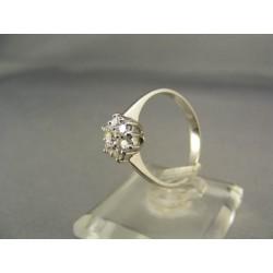 Diamantový prsteň biele zlato kamienky VD54262