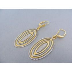 Zlaté náušnice visiace žlté a biele zlato VA549