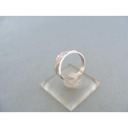 Zlatý dámsky prsteň biele zlato kamienky zirkónu zárezy VP52297B