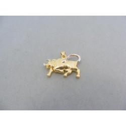 Zlatý prívesok znamenie býk žlté biele zlato VI187V
