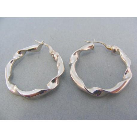 Náušnice kruhy biele zlato točený vzor