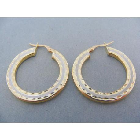 Náušnice kruhy dvojfarebné zlato potláčeny vzor