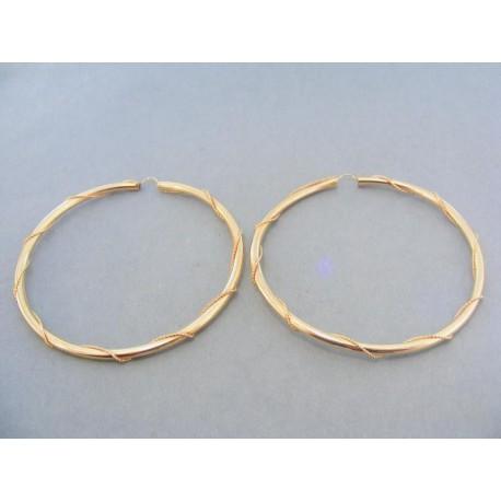 Náušnice veľké kruhy žlté zlato točený vzor dookola