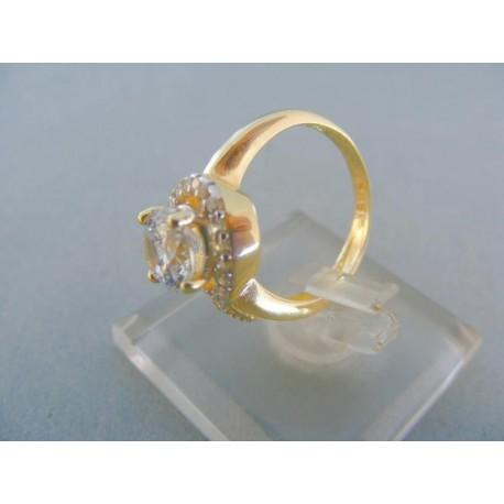 Elegantný dámsky prsteň dvojfarebné zlato kamienky